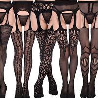 Black Bodystocking Women Mesh Lace Thigh-Highs Garter Belt Suspender Pantyhose