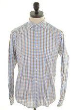 Hugo Boss Mens Shirt Size 38 15 Medium Multi Check Cotton