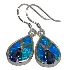 DELIGHTFUL TANZANITE BLUE OPAL 925 STERLING SILVER HOOK EARRINGS