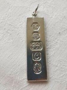 1977 Sterling Silver Vintage Ingot Pendant