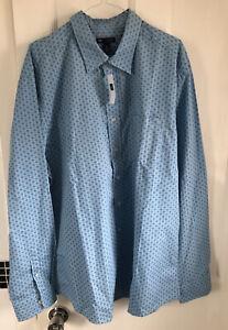 BNWT Mens GAP Classic Fit Blue Patterned Shirt XL