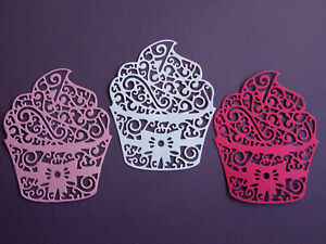 Cupcake Die Cuts x 8 - made from Paper - Scrapbooking Card Making Topper