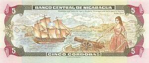 Nicaragua  5  Córdobas  1995  P 180  Series  B Uncirculated Banknote FB