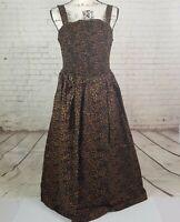 Ava & Viv Women's Plus Size 1X Black Brown Geo Leopard Sleeveless Sun Dress