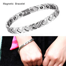 Ladies Magnetic Health Bracelet Silver Bangle Arthritis Pain Relief
