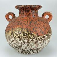 60er 70er Jahre Vase Blumenvase Keramik Keramikvase Orange Weiß Space Age 60s