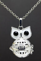 Owl Hollow Locket Essential Oil Aromatherapy Diffuser Pendant Necklace H3
