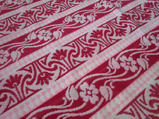 Antique Vtg Red Pink Wool Floral Scrolls Blanket DOUBLE WOVEN Lovely 78x48