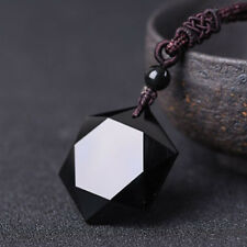 Natural Stone Necklace Black Obsidian Pendant Jewelry Sweater Chain Jewellery
