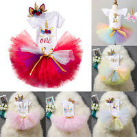 3pcs Baby Girl 1st Birthday Outfit Party Unicorn Romper Rainbow Smash Tutu Dress