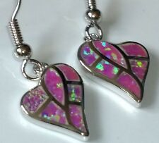 ***UK SELLER**Silver/Rhodium Plated PINK FIRE OPAL Hearts Drop Earrings