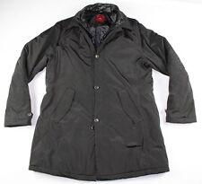 LUIGI BIANCHI MANTOVA Men Medium Full Zip Button Puffer Trench Coat Jacket Black
