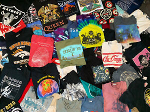 5 T-shirt Lot Pick a Size VTG Nike Sports Tie Dye Bands Movies Carhartt Graphics