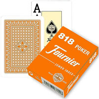 FOURNIER 818 POKER PLASTIC COATED PLAYING CARDS DECK RED BLUE JUMBO INDEX NEW
