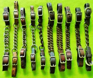 Lot (10) Quality LEATHER CURB CHAINS Straps For Show Training Bridle Bits~NR