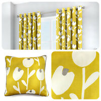 Fusion ALABAR Ochre Yellow 100% Cotton Ready Made Eyelet Curtains & Cushions