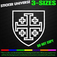 Jerusalem Cross Heraldic Shield Car Window Decal Bumper Sticker Christian 0427