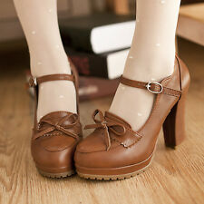 Lolita Womens Bowknot Mary Janes Shoes Buckle Strap Platform High Chunky Heels
