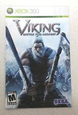 Xbox 360 Viking Battle For Asgard Instruction Booklet Insert Only Microsoft
