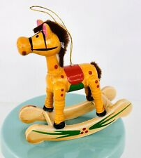 Vintage Wood Christmas Rocking Horse Ornament 3� Hand Painted Yarn Mane Tail 006