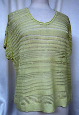 J. JILL Relaxed Fit Pullover V-Neck Top Open Stitch Light Pear Cap Sleeve Size S