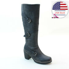 Brieten Women's Chunky Heel Knee High Riding Boots Low Heel Long Martin Boots