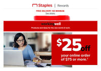 STAPLES coupon $25 OFF $75 Promo Code Exp 10/03/2020 STAPLES.COM School Supplies