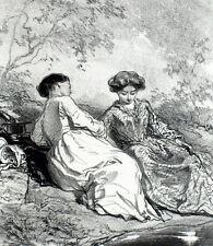 Brautjungfern Amor Puten Lithographie Originell Masken und Visages Gavarni