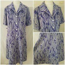 Authentic Vintage 70s Midi Purple Tea Secretary Shirt Dress Stretchy Size 20