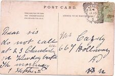 Postmark North Kensington W 1907 To cazely 667 Holloway Road Carte Postale Guildhall