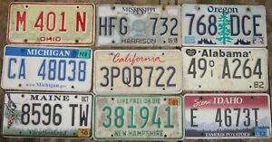 Mixed Lot 9 licence/number plates US/United States/USA/American STARTER PACK A