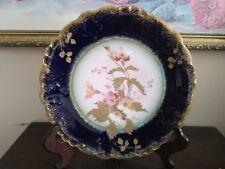 GDA Limoges France Porcelain Handpainted Plate Flowers Cobalt Blue Gold
