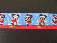 "christmas mickey minnie 2 grosgrain ribbon 1"" per 1 m hair scrapbooking cards"