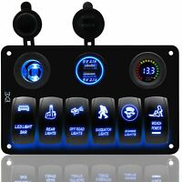 Waterproof 6 Gang LED Rocker Switch Panel Circuit Breaker 12/24V Car Boat Marine