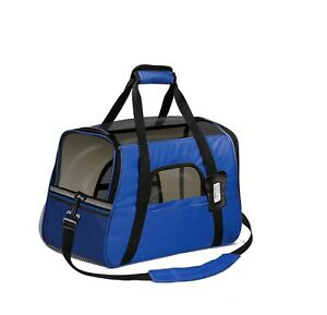 AIRLINE APPROVED PET CARRIER WITH FLEECE BOLSTER ROYAL BLUE FOR SMALL PETS NEW