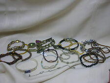 Lot of 20 Bracelets Beaded Metal Charms Rhinestones Stackable Bracelets