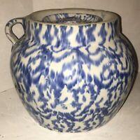 LARGE Antique UHL Pottery Four Quart Blue & White Spongeware Stoneware Bean Pot