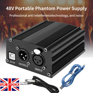 Channel 48V Phantom Power Supply w/3.5 Cable XLR USB Cable Microphone Cable UK!!