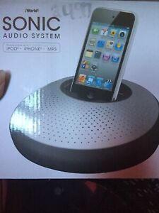 iWorld Sonic Audio System Stereo Speaker Dock - Black, Perfect For Outdoor 3AA B