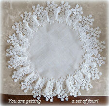 Spring Doilies 16 Inch SET OF 4 Flower Lace Natural Flower Place Mat Lot Doily