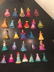 Disney Princess Mattel Magiclip Polly Pocket 15 Doll And 28 Clip Dresses Lot
