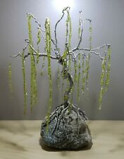 Wire Willow Tree Of Life Sculpture Handmade Silver Green Crystals On Real...