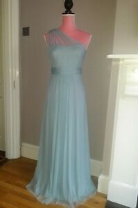 NEW Aqua Blue Bridesmaid Maxi Prom Dress Tulle One Shoulder UK 10-16 Wedding