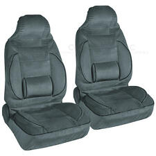 Set of 2 High Back Car Seat Covers w/ Built-in Lumbar Support Comfort -Charcoal