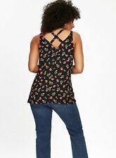 Evans - Black Floral Cross Back Vest Top Uk 18 Brand New