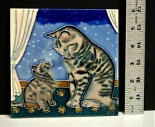 Feline Cat Mother & Baby Ceramic Tile Also Able To Stand 6 x 6 New