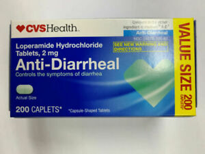 CVS Health Anti-Diarrheal 2 mg Caplets 200 ct box controls symptoms exp 12/2021