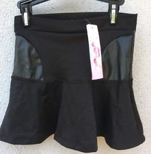 $50 NWT So Nikki Brand Fitted To Flair Solid Black W/ Pleather Skirt Girls 7/8