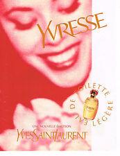 PUBLICITE ADVERTISING 074  1997  YVES SAINT LAURENT  parfum YVRESSE