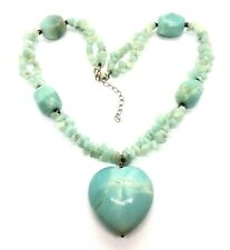 Vintage Sterling Silver Amazonite Stone Heart Pendant Necklace